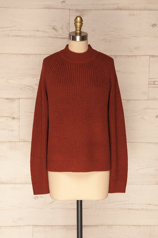 Evora Brick Red Boxy Knit Sweater w/ Slits  | FRONT VIEW | La Petite Garçonne