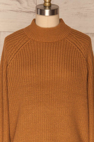 Evora Sand Brown Boxy Knit Sweater w/ Slits |FRONT CLOSE UP | La Petite Garçonne