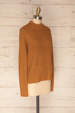 Evora Sand Brown Boxy Knit Sweater w/ Slits | SIDE VIEW | La Petite Garçonne