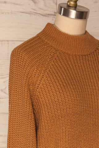 Evora Sand Brown Boxy Knit Sweater w/ Slits | SIDE CLOSE UP | La Petite Garçonne