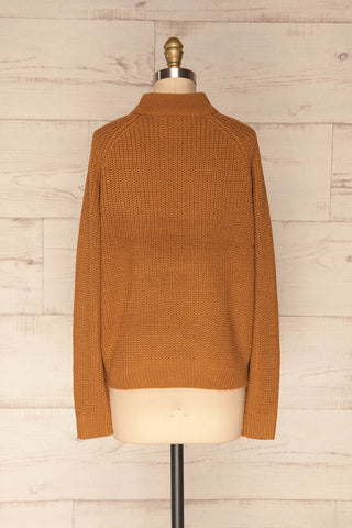 Evora Sand Brown Boxy Knit Sweater w/ Slits | BACK VIEW | La Petite Garçonne