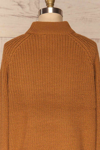 Evora Sand Brown Boxy Knit Sweater w/ Slits | BACK CLOSE UP  | La Petite Garçonne