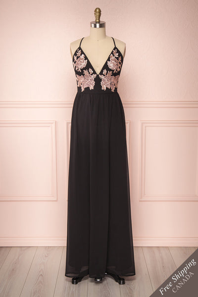 Ezreal Black Embroidered & Sequined Gown | Boutique 1861