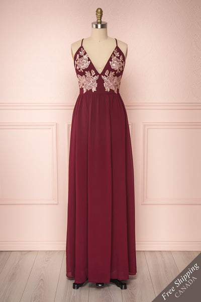 Ezreal Wine Red Embroidered & Sequined Gown | Boutique 1861
