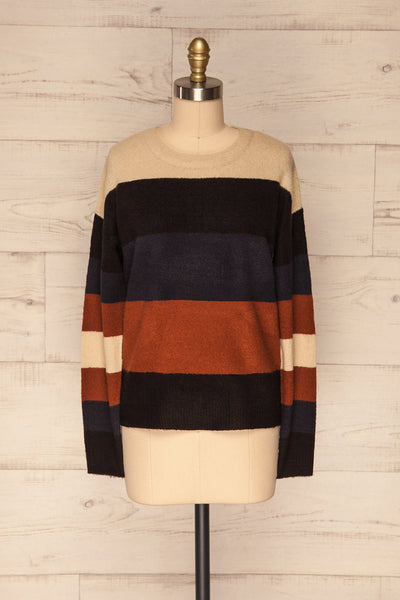 Faarland Black and Brown Striped Knit Sweater | La Petite Garçonne front view