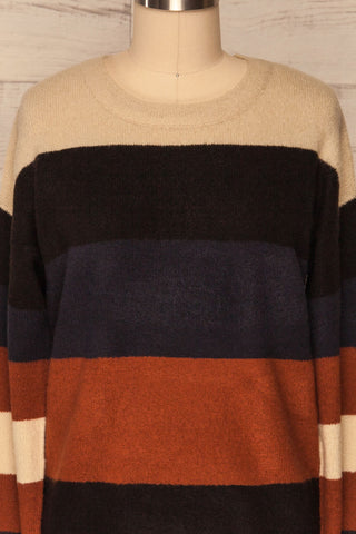 Faarland Black and Brown Striped Knit Sweater | La Petite Garçonne front close-up