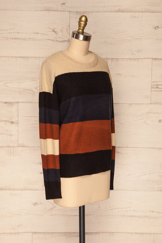 Faarland Black and Brown Striped Knit Sweater | La Petite Garçonne side view