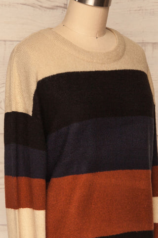 Faarland Black and Brown Striped Knit Sweater | La Petite Garçonne side close-up