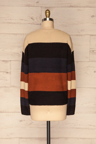 Faarland Black and Brown Striped Knit Sweater | La Petite Garçonne back view