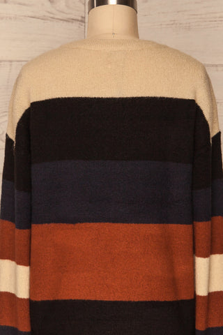 Faarland Black and Brown Striped Knit Sweater | La Petite Garçonne back close-up