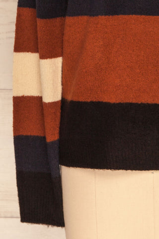 Faarland Black and Brown Striped Knit Sweater | La Petite Garçonne bottom close-up