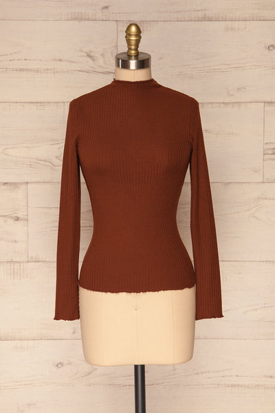 Faaset Clay Brown Ribbed Top with Stand Collar r | front view | La Petite Garçonne