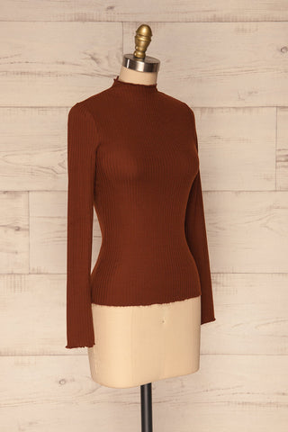 Faaset Clay Brown Ribbed Top with Stand Collar  | side view | La Petite Garçonne