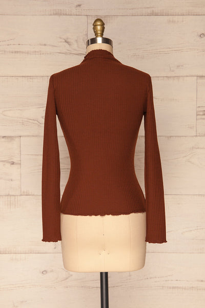 Faaset Clay Brown Ribbed Top with Stand Collar  | back view | La Petite Garçonne