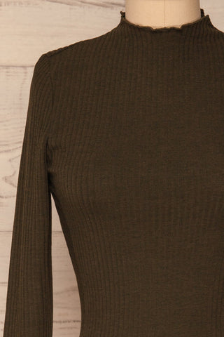 Faaset Moss Khaki Ribbed Top with Stand Collar | front close up | La Petite Garçonne