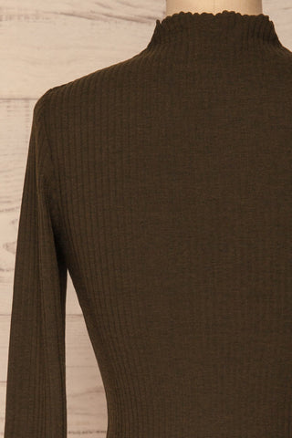 Faaset Moss Khaki Ribbed Top with Stand Collar  | back close up | La Petite Garçonne