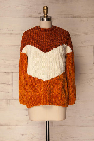 Faberg Fall Orange & White Fuzzy Knit Sweater | La Petite Garçonne