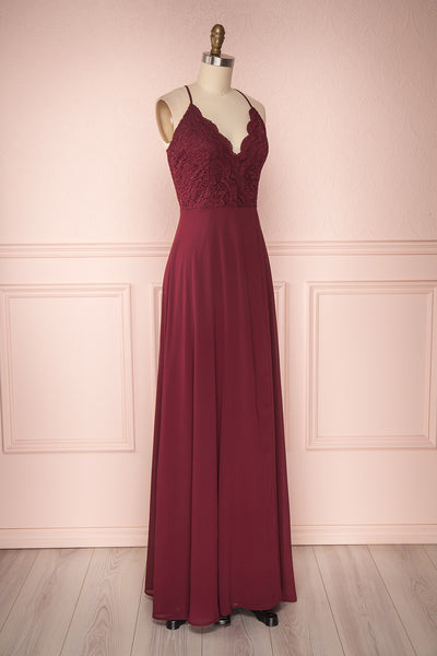 Fabia Burgundy | Lace & Chiffon Dress