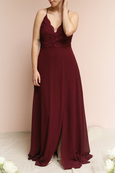 Fabia Burgundy Lace & Chiffon Bridesmaid Dress | Boudoir 1861 on model