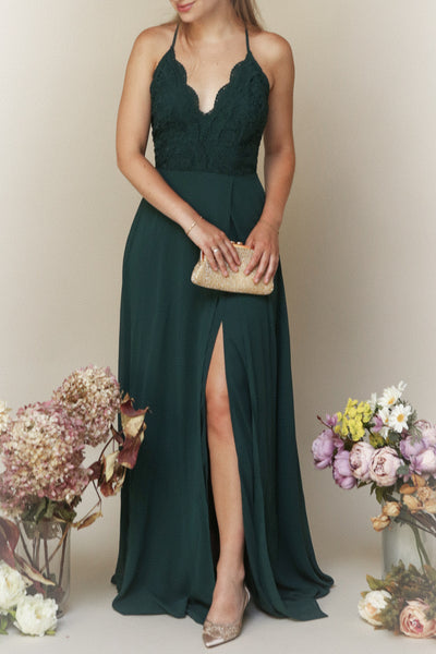 Fabia Green Lace & Chiffon Bridesmaid Dress | Boudoir 1861 on model