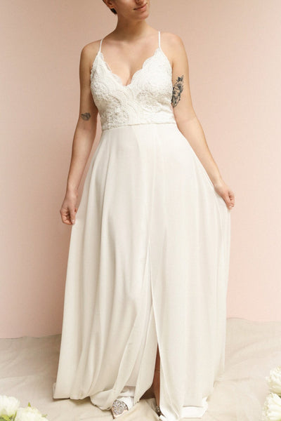 Fabia Ivory White Lace & Chiffon Bridesmaid Dress | Boudoir 1861 on model