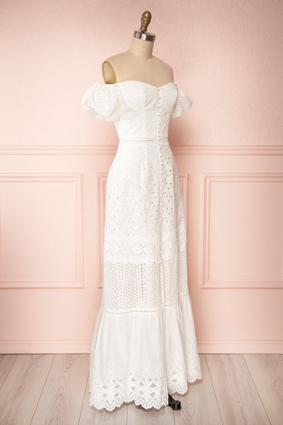 Fabienne Off-Shoulder Lace White Bridal Dress side view | Boudoir 1861