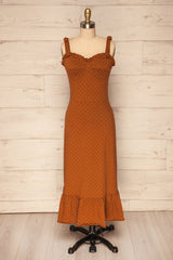 Fadareid Paprika Brown & Black Midi Flare Dress | La Petite Garçonne
