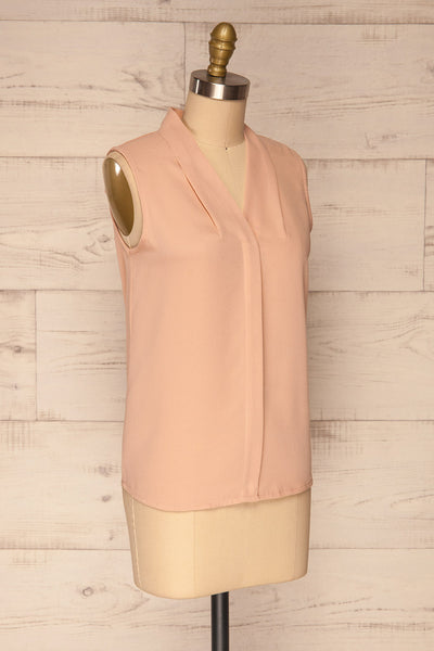 Fadlet Pink Blush Beige Sleeveless Top | La petite garçonne side view