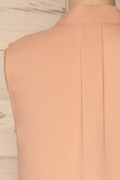 Fadlet Pink Blush Beige Sleeveless Top | La petite garçonne back close-up