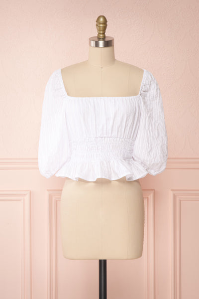 Faerylis White Puffy Sleeve Ruched Crop Top | Boutique 1861 front view