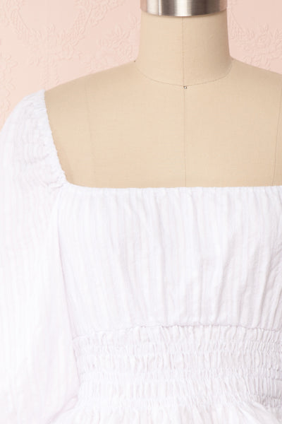Faerylis White Puffy Sleeve Ruched Crop Top | Boutique 1861 front close up