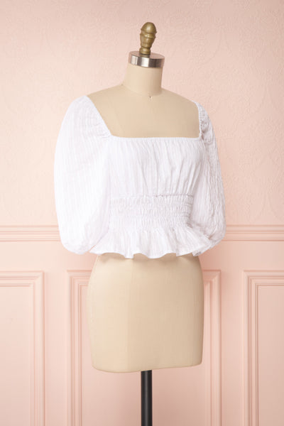 Faerylis White Puffy Sleeve Ruched Crop Top | Boutique 1861 side view