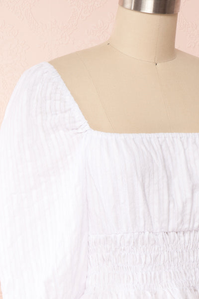 Faerylis White Puffy Sleeve Ruched Crop Top | Boutique 1861 side close up