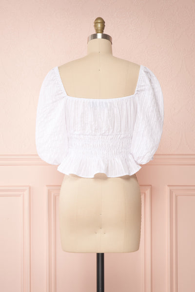 Faerylis White Puffy Sleeve Ruched Crop Top | Boutique 1861 back view