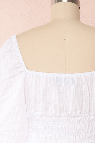 Faerylis White Puffy Sleeve Ruched Crop Top | Boutique 1861 back close up
