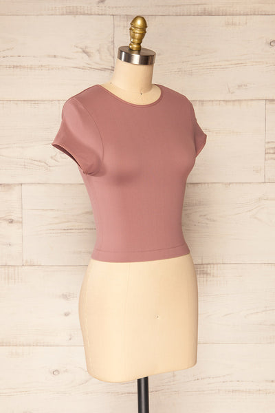 Fafe Lilac Pink Fitted Cropped T-Shirt | La petite garçonne side view