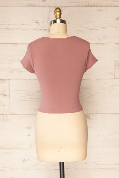 Fafe Lilac Pink Fitted Cropped T-Shirt | La petite garçonne back view
