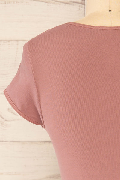 Fafe Lilac Pink Fitted Cropped T-Shirt | La petite garçonne back close-up