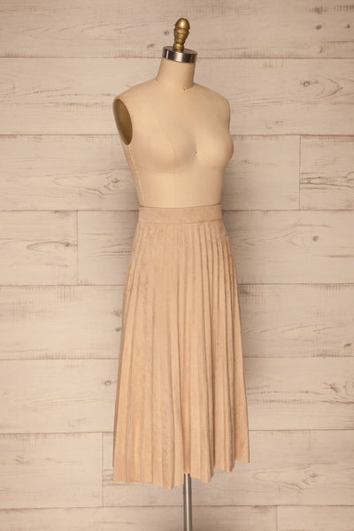 Fagerhaug Beige Pleated Midi Skirt | La petite garçonne side view