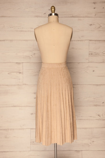 Fagerhaug Beige Pleated Midi Skirt | La petite garçonne  back view