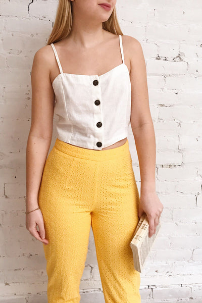Klobuck Yellow Openwork Straight Leg Pants | La petite garçonne on model