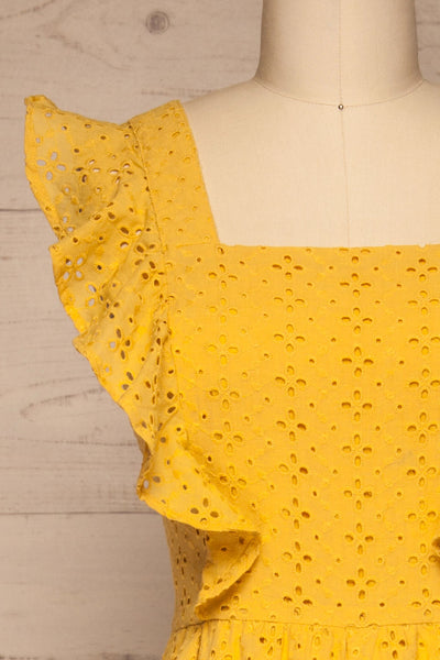 Fagervik Yellow Wide Leg Jumpsuit | La petite garçonne front close-up