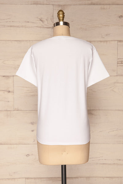 Faldmoen White Short Sleeved T-Shirt w/ Print | La Petite Garçonne back view
