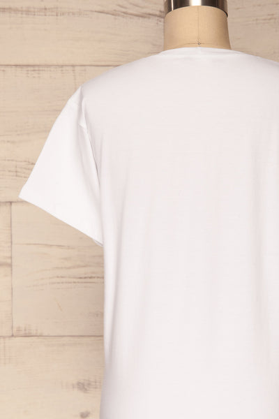 Faldmoen White Short Sleeved T-Shirt w/ Print | La Petite Garçonne back close-up