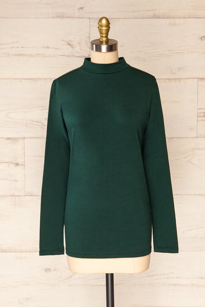 Falejde Green Long Sleeve Mock Neck Top | La petite garçonne front view