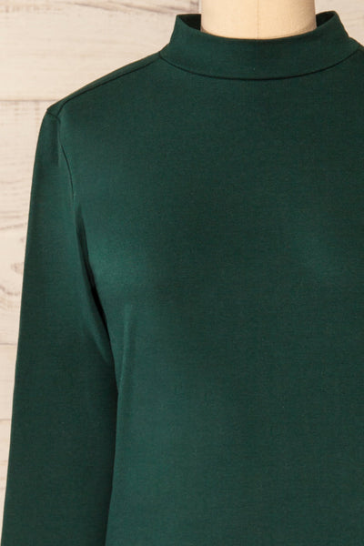 Falejde Green Long Sleeve Mock Neck Top | La petite garçonne front close-up