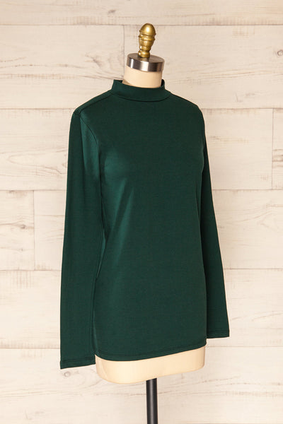 Falejde Green Long Sleeve Mock Neck Top | La petite garçonne side view