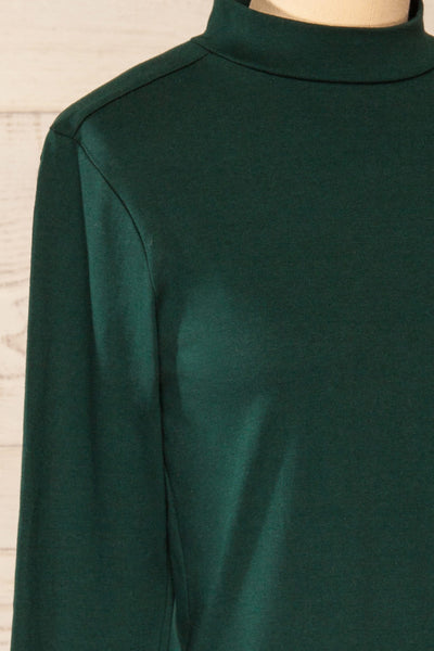 Falejde Green Long Sleeve Mock Neck Top | La petite garçonne side close-up