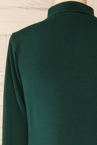 Falejde Green Long Sleeve Mock Neck Top | La petite garçonne back close-up