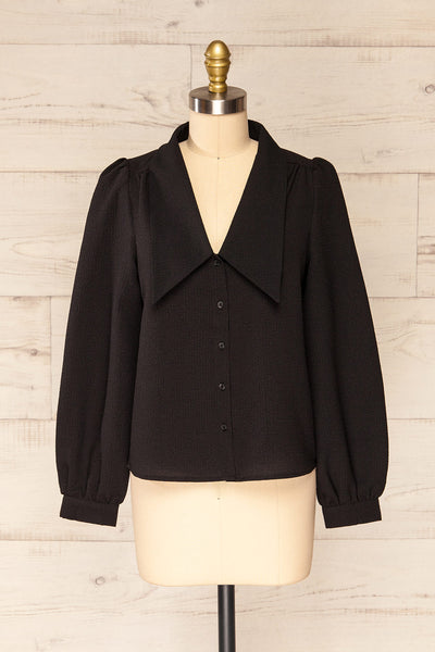 Falkeid Black V-Neck Buttoned Shirt | La petite garçonne  front view